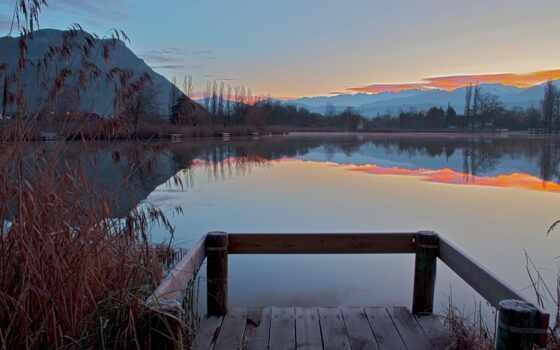 озеро, фоны, мост, категории, лес, всадники, small, canvas, заставки,