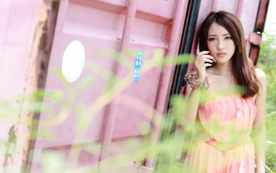 clean, синее, женщина, платье, боке, длинные, волосы, красивая, китаянка,