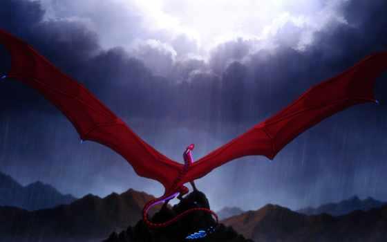 red, дракон, art, wings, fantasy, tail, крылья,