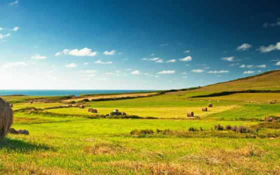 зелёный, поле, landscape, стог, деревня, great, взгляд, сено, луг, зеленое,