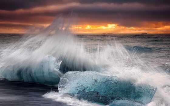 волна, iceland, природа, пляж, splash, море, утро, лед, небо, ocean