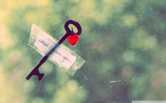love, heart, key