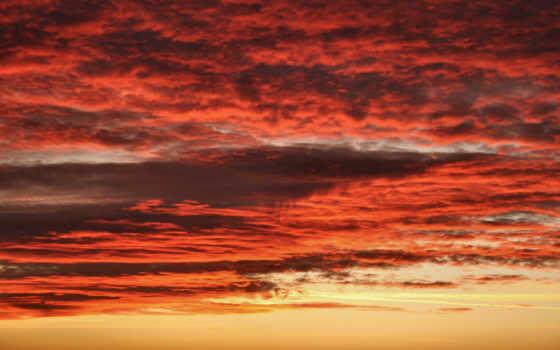 облака, красные, небо