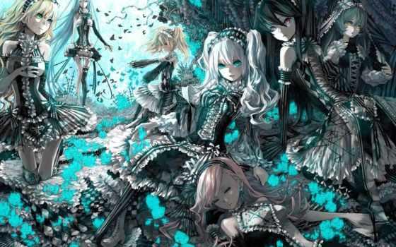 anime, gothic, devushki, же, vocaloid, art,