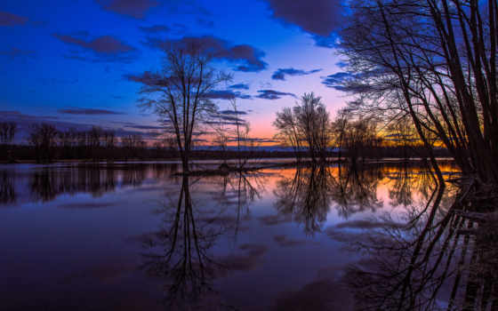 онтарио, озеро, канадский, отражение, вечер, trees, kanada, закат, небо, оранжевый,