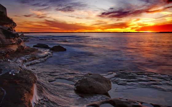камни, закат, море, скалы, sydney,