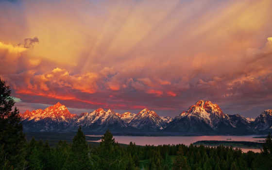 горы, утро, park, national, state, сша, wyoming, озеро, гранд, титон, лес,