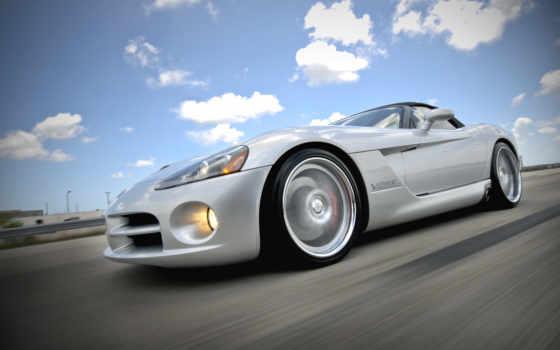 авто, dodge, viper, дорога, silver, спорткар, дороге, фары, bmw, white,