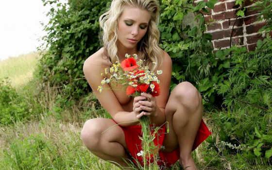 devushki, полевых, букетом, цветов, голые,