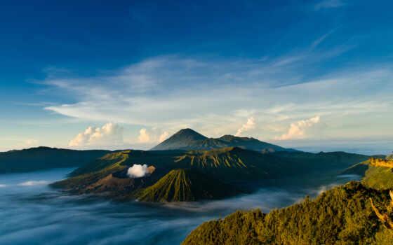 вулкан, индонезийский, небо, бромо, mount, bali, остров, indonesia, природы, java, природа,