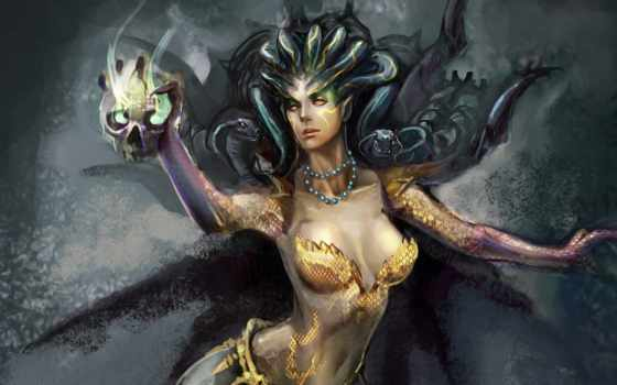 горгона, череп, магия, змеи, медуза, witch, medusa, fantasy,