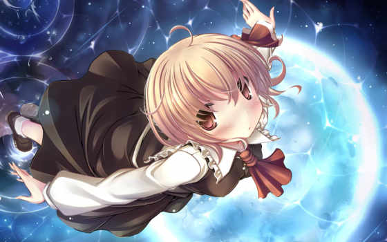 touhou, hair, anime, kaisu, rumia, dress, eyes, brown, short,