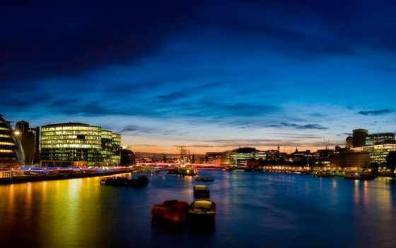 london, река, вечер