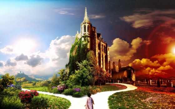 castle, фотообои, путь, графика, fantasy, банка, fantastic, твой, цветы,