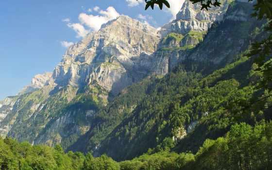 горы, лес, небо, oblaka, луг, зелёный, height, greatness, хвойный,