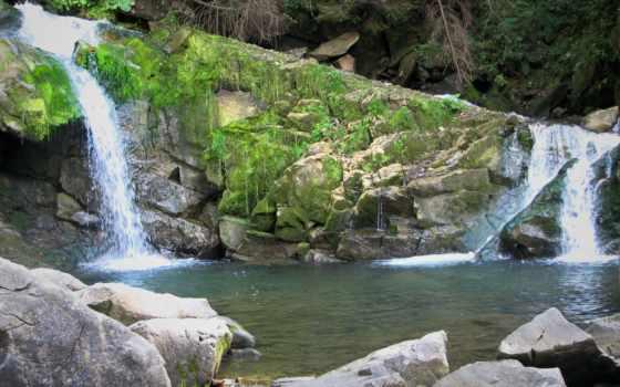карпаты, ukrainian, водопад, картинка, телефон,