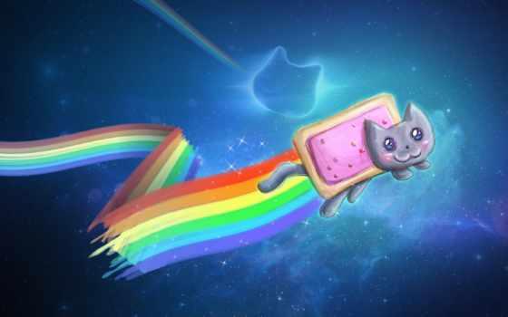 nyan, кот, мем, небо, радуга, рисунок, быстро, shariki, графика,