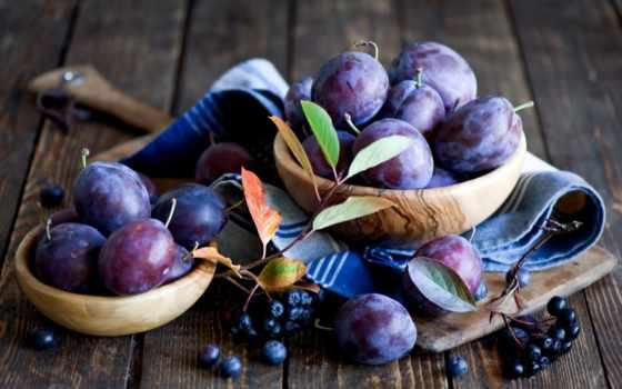 сливы, листва, лица, фрукты, осень, ягоды, доска, маска, сток, натюрморт, посуда,