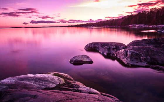 озеро, purple, scenery, закат, random, color, popularity