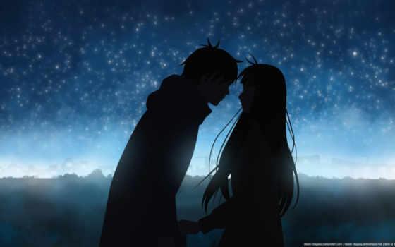 wallpaper, скачать, love, anime, night, kimi, ni, todoke, двое, силуэты,