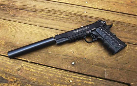 оружие, пистолет, кольт, глушитель, древесина