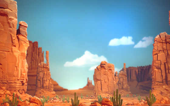 каньон, скалы, кактусы