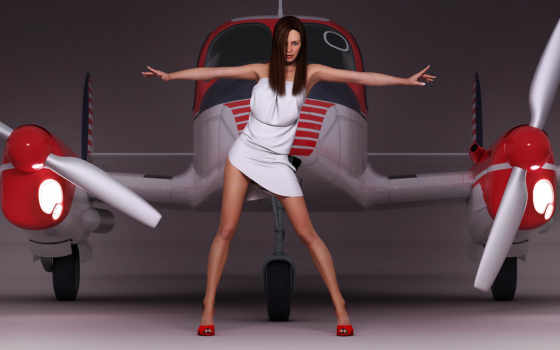 самолёт, девушка, ангар