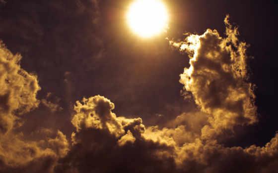 sun, небо, rays, тучки, солнца,