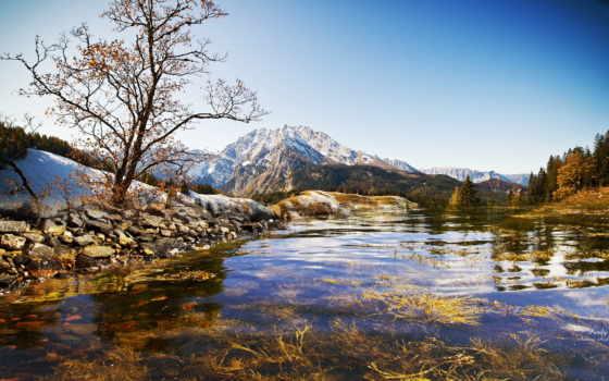 landscape, природа, горы, река, water, озеро, небо, водопад, камни, море, trees,