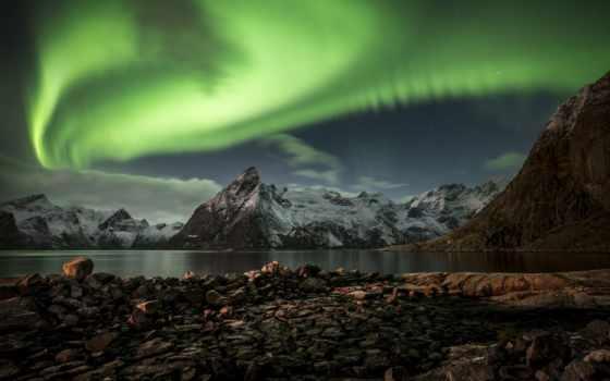сияние, северное, norwegian, острова, лофотенские, ночь, норвегии, норвегия,