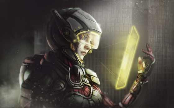 шлем, девушка, cyberpunk, взгляд, маска, art, категории, скафандр, uror, thresh, aliis,