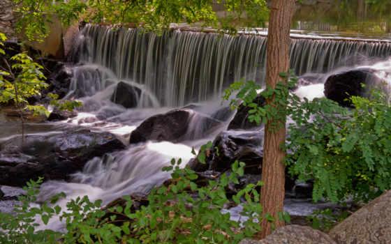 parede, imagens, cachoeira, água, papel, árvores, природа, водопад,