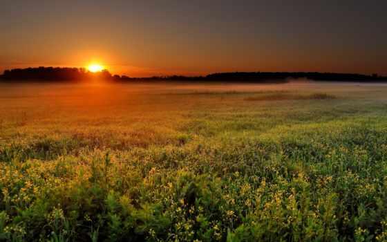 summer, sun, утро, дорога, rising, природа, широкоформатные, пейзажи -, туман, небо,