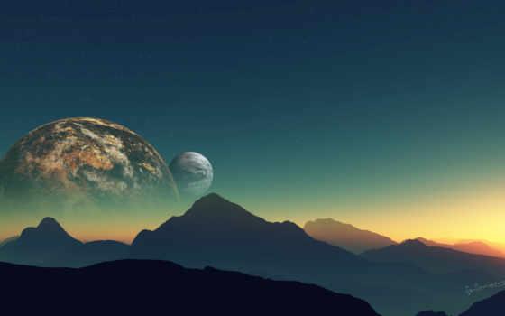 звезды, planet, горы