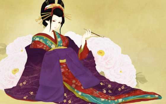 девушка, кимоно, art