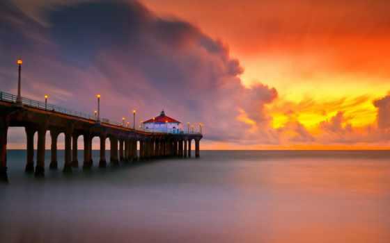 пляж, manhattan, закат, california, pier,