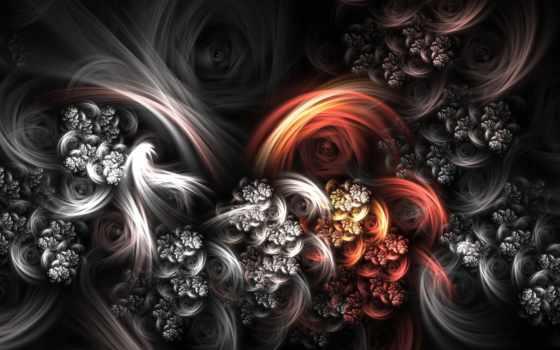 абстракция, картинка, cvety, modular, black, цветы, digital
