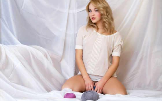 девушка, blonde, рубашка