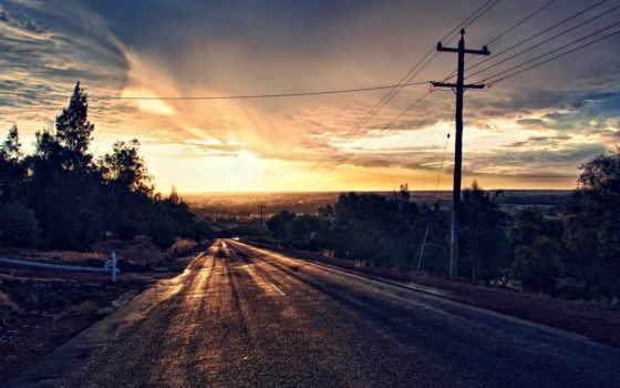 широкоформатные, дорога, закат