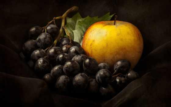 натюрморт, виноград, apple, разные,