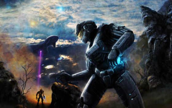 halo, доспех, солдат, скафандр, корабль, небо, горы, шлем, кат, пистолет,