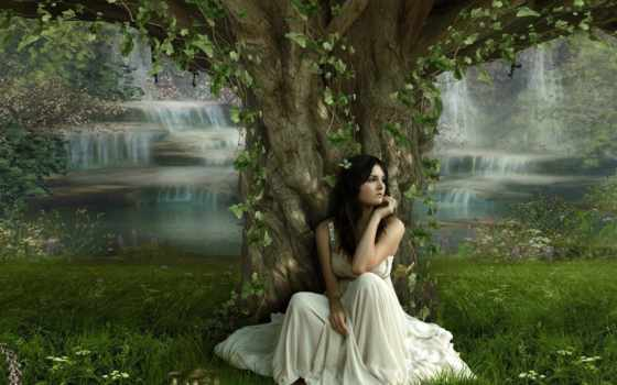 девушка, devushki, под, дерева, деревом,