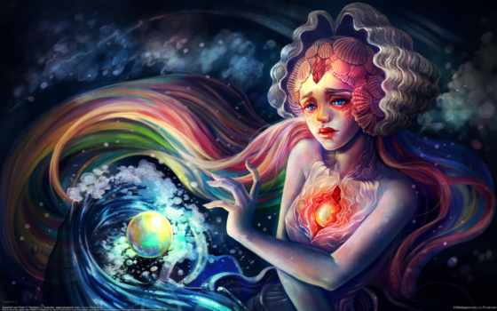 art, под, водой, девушка, русалка, лицо, русалки, yangtian, сердце, картинка,