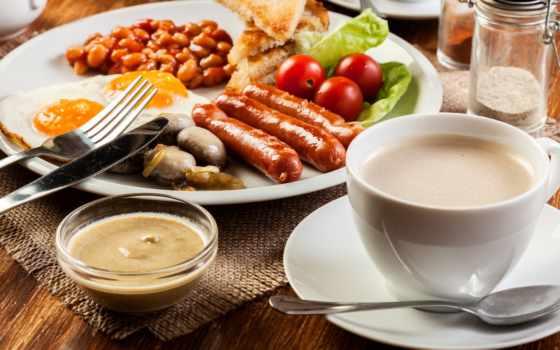 coffee, колбаса, завтрак, яичница, натюрморт, помидоры, cup,