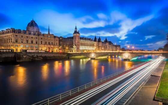 conciergerie, париж, дорогой, франция, город, francii, мост, castle, вечер, река