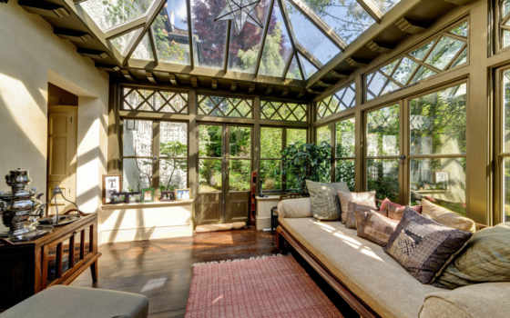 террасы, интерьер, стекло, веранды, балконы,