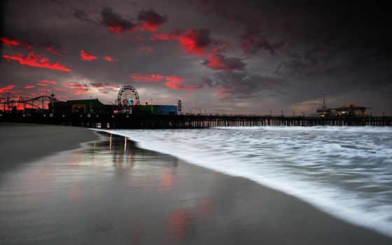 санта, моника, пляж, море, los, причал, angeles, закат, pier,