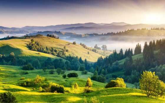 природа, trees, телефон, рассвет, планшетный, sun, зелёный, широкоформатные, ноутбук, туман, холмы,
