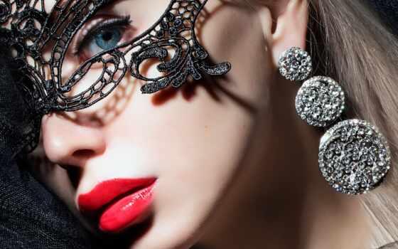 лицо, маска, серьги, кружева, взгляд, маски, макияж, губы, devushki, красные, девушка,