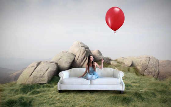 девушка, камни, мл, мяч, aerial, диван, трава, шары, воздушные,